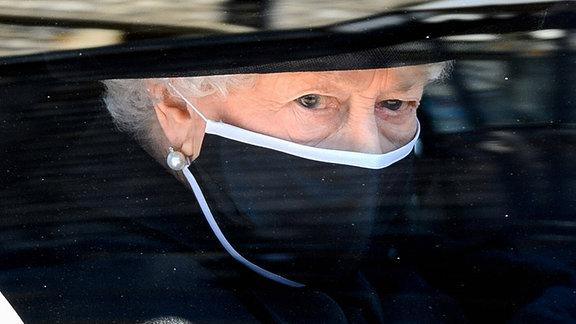 Die Queen bei der Beerdigung von Prinz Philip