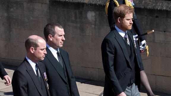 Prinz William und Prinz Harry bei der Beerdigung von Prinz Philip
