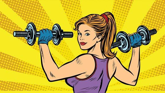 Eine gezeichnete Bodybuilderin.