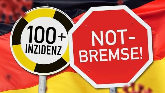 FOTOMONTAGE, Schilder vor Deutschlandfahne mit Coronaviren