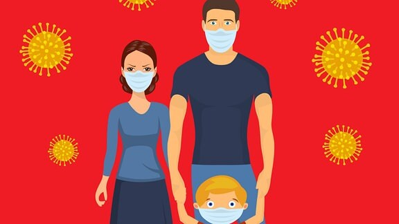 ein animiertes Bild einer Familie mit Schutzmaske