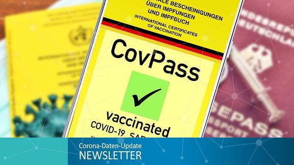 Smartphone mit Impfpass-App vor Reisepass und Impfpass + Grafik Corona-Daten-Update