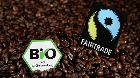 Kaffeebohnen mit EG-Bio- und Fair-Trade-Siegel.
