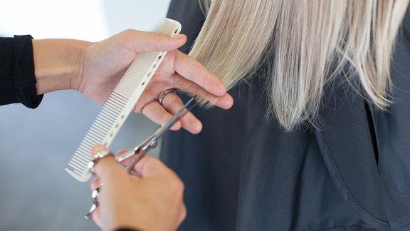 Haare werden geschnitten