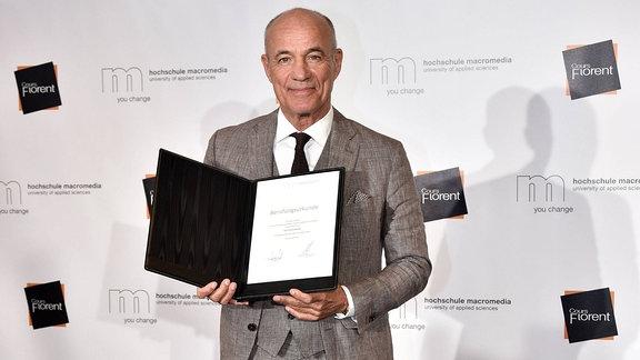Heiner Lauterbach bei seiner Ernennung zum Professor für Schauspiel, Film und Fernsehen