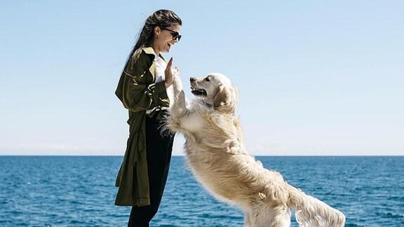 Eine Frau spielt mit ihrem Hund.