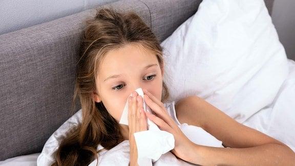 Mädchen schnaubt sich die Nase.