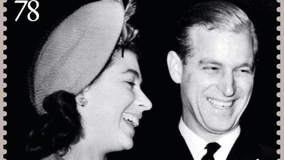 Elizabeth II. und Prinz Philip auf einer Briefmarke