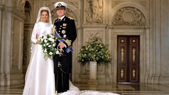 Kronprinz Willem-Alexander der Niederlande (NED) und Prinzessin Maxima (ARG) anlässlich ihrer Heirat in Amsterdam