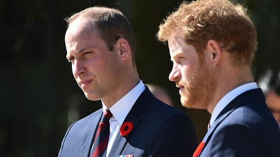 Prinz William und Prinz Harry stehen nebeneinander.