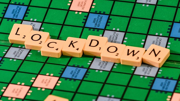 Lockdown geschrieben in Scrabble-Buchstaben