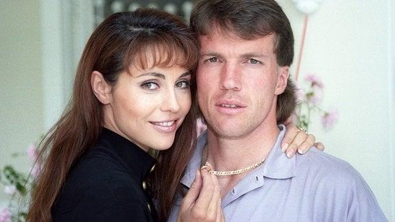 Lothar Matthäus mit seiner Frau Lolita Morena, 1993