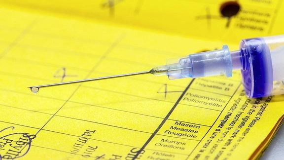 Impfpass mit Spritze.