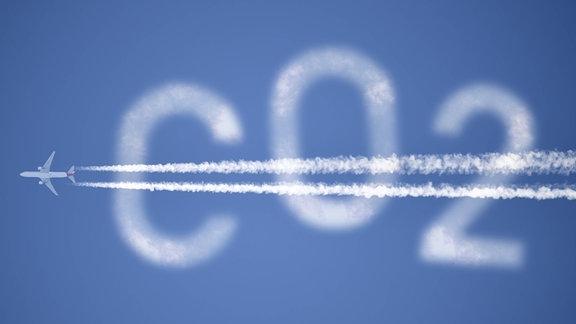 Flugzeug mit Kondensstreifen und Schriftzug CO2 am Himmel