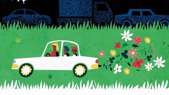 Illustration - Familie fährt umweltfreundliches Auto
