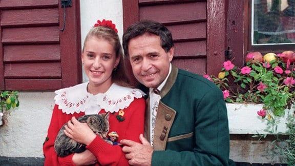 Stefanie Hertel mit ihrem Vater Eberhard Hertel 1993