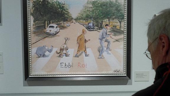 Plattencover der Beatles (Abbey Road), verfremdet als Ebbi Rot.
