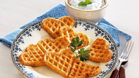 Kartoffelwaffeln mit Kräuterquark
