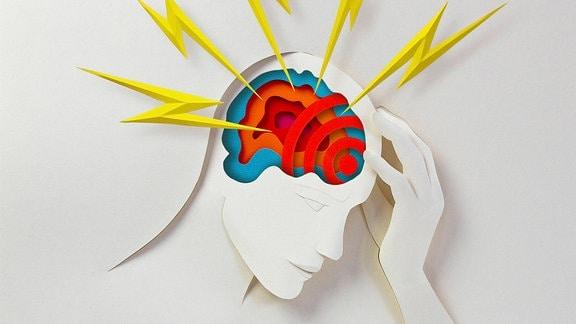 Grafik: Scherenschnitt von einem Menschen mit Kopfschmerzen