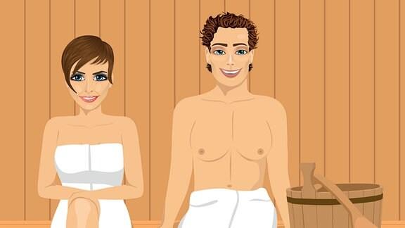 Zeichnung zweier Frauen die in einer Sauna sitzen.