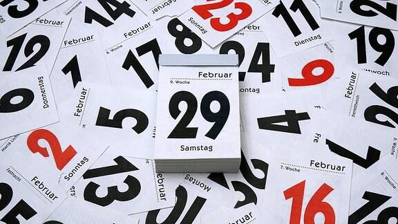 Kalenderblätter, in der Mitte der 29. Februar