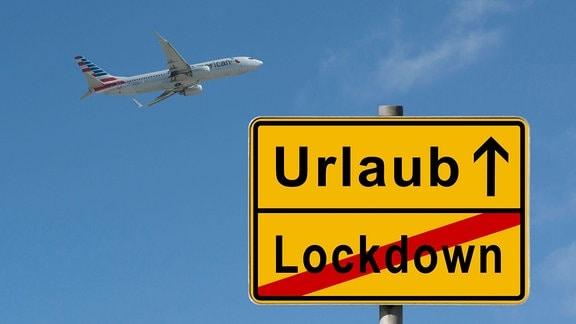 Ende Lockdown, Beginn Urlaub, Fotomontage, Passagierflugzeug