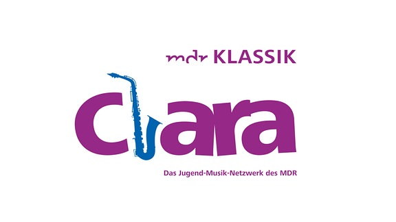 Lilafarbener Schriftzug: MDR KLASSIK - Clara, das L ist als Saxofon gestaltet.
