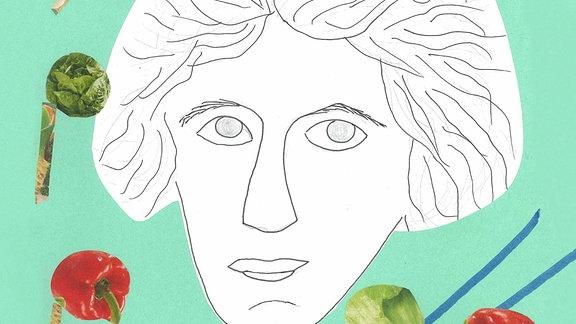 In der Illustration eines Mädchens ist ein gemaltes Beethoven-Porträt umgeben von Notenköpfen aus Gemüse.