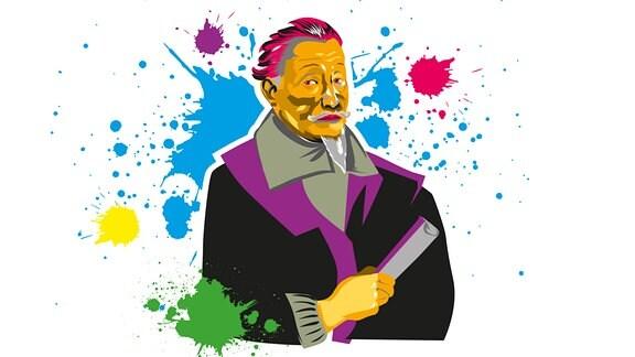 Bild des Komponisten Heinrich Schütz im bunten Pop-Art-Stil mit Farbklecksen.