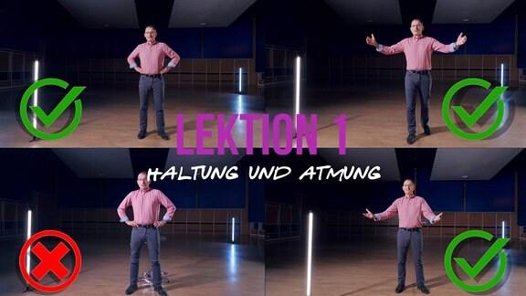 Sänger und MDR-Musikvermittler Ekkehard Vogler mit Titelschrift: Lektion 1: Atmung und Haltung