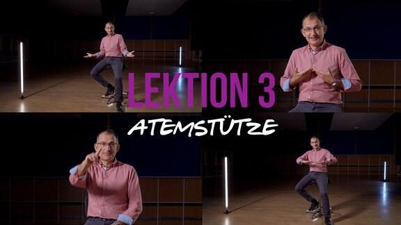 Sänger und MDR-Musikvermittler Ekkehard Vogler mit Titelschrift: Lektion 3: Atemstütze