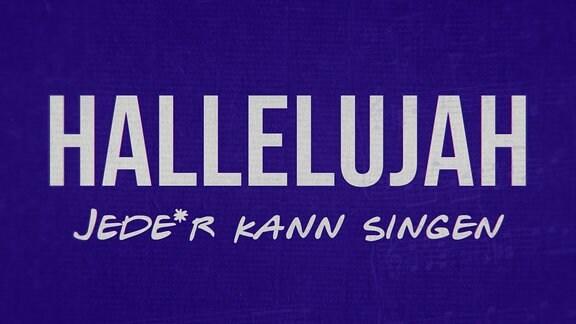 Blaues Banner mit silberfarbener Aufschrift: Sing Halleluja – Jede*r  kann singen
