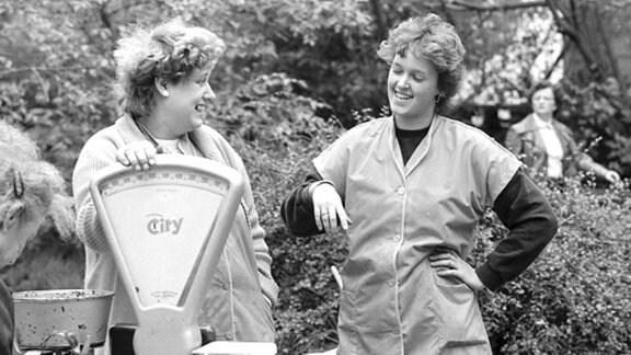 Marktfrauen in Leipzig in den 1980er-Jahren