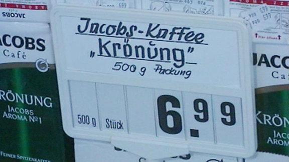 Preisschild Kaffee