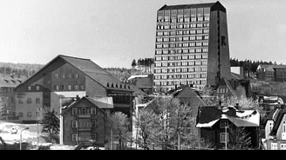 Historische Aufnahme Wintersportort Oberhof von 1976