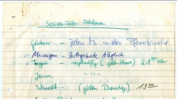 Handschriftlich notierte landesweite Solidaritätsktionen für die Inhaftierten nach der Luxemburg-Demonstration 1988 in Berlin