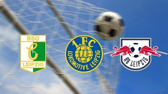 Logos der Mannschaften BSG Chemie, RasenBallsport Leipzig und 1. FC Lokomotive Leipzig