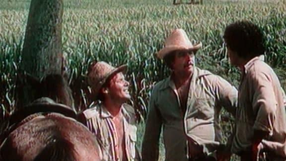 Drei Männer und ein Pferd vor einem Feld.
