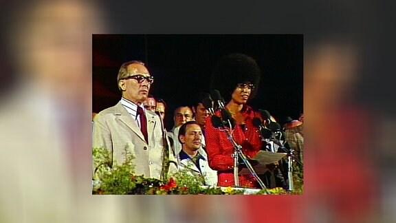 Erich Honecker und Angela Davis