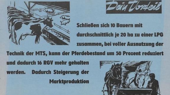 Mit diesem Plakat aus dem Jahr 1959 versuchte die SED-Kreisleitung Perleberg, Abteilung Agitation, Propaganda und Kultur, den Bauern die vermeintlichen Vorteile der genossenschaftlichen Produktion zu verdeutlichen.