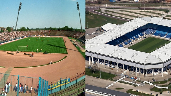 Collage des alten Ersnt-Grube-Stadions und der neuen MDCC-Arena in Magdeburg