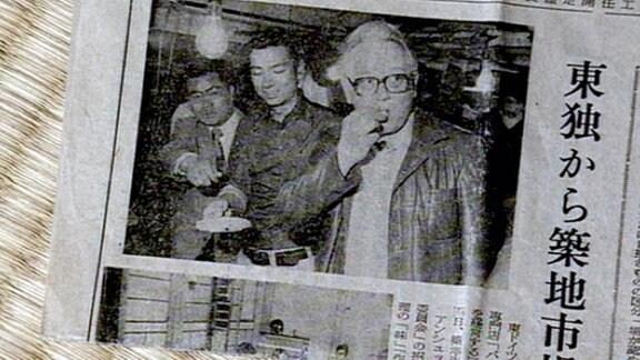 Ausriss aus einer japanischen Zeitung, die über Rolf Anschütz berichtet