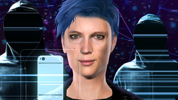Eine animierte Frau mit blauen Haaren vor violettem Hintergrund, daneben ein Smartphone und angedeutete Menschen mit Kapuzenpullovern