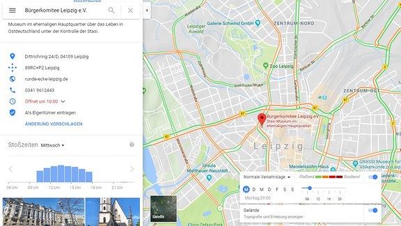 Eine Google-Maps Karte von Leipzig mit markierter Gedenkstätte Runde Ecke. Am linken Rand sieht man die Besucherzahlen in einem Balkendiagramm nach Stunden sortiert