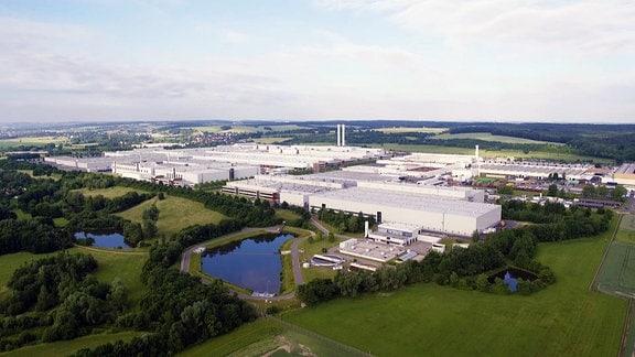 Blick auf das VW-Gelände bei Zwickau