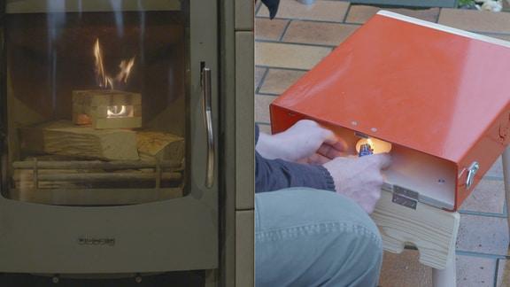 Bildmontage: Links wird ein Ofen mit Hilfe einer Feueranzünder-Box angefeuert, rechts wird mit einem Teelicht die Sitzfläche eines Hockers erwärmt.