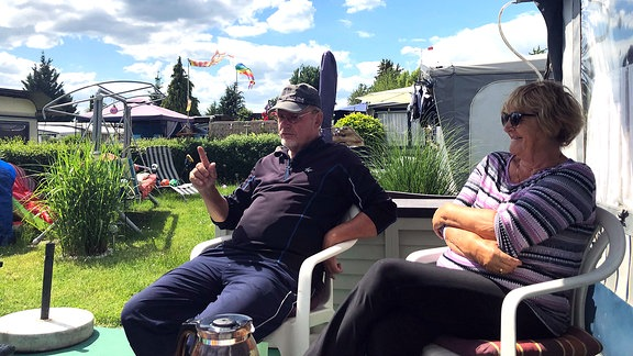 Dauercamper Ekkehard Streck und Helga Wilke