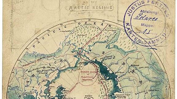 Historische Karte der Nordpol-Region aus Perthes-Sammlung