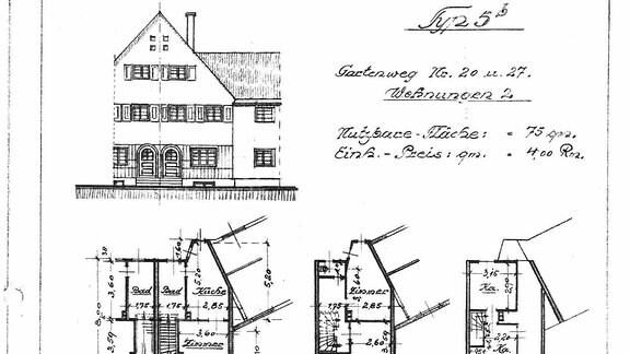 """Haus- und Wohnungsgrundriss / Typologie, um 1920 (Beispiel """"Krummer Weg"""")"""