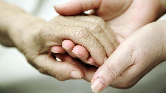 Zwei Hände die sich halten